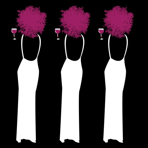 Silhouette of black repeating woman on black background, with red hair and white dress holding a glass of wine. Vector illustration